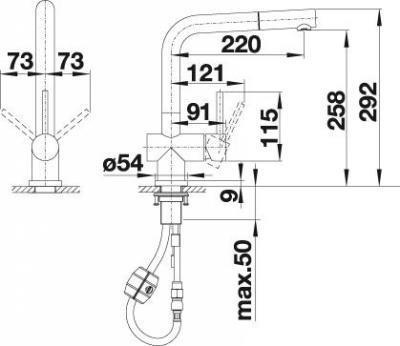Blanco Lomis S Küchenarmatur 519725 Edelstahl Gebürstet Niederdruck