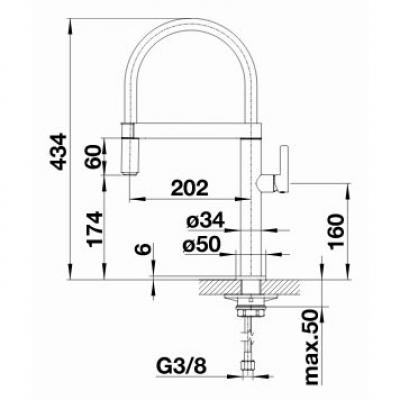 blanco culina s mini k chenarmatur 519844 edelstahl finish hochdruck online shop armaturen. Black Bedroom Furniture Sets. Home Design Ideas