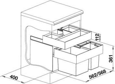 blanco select xl 60 3 orga abfalltrennsystem 520782 online shop abfallsammler frontauszug 60 cm. Black Bedroom Furniture Sets. Home Design Ideas