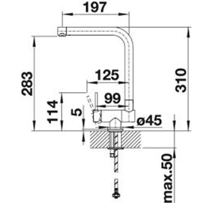blanco laressa f vorfenster k chenarmatur chrom hebel rechts 521545 hochdruck online shop. Black Bedroom Furniture Sets. Home Design Ideas