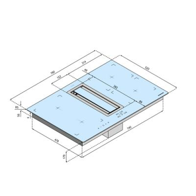 silverline flik 854 es flow in intern tischhaube mit induktions kochfeld 80 cm eek a online. Black Bedroom Furniture Sets. Home Design Ideas