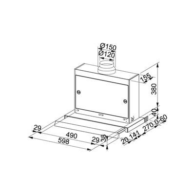 franke omnia ftc 622 xs flachschirmhaube 60 cm edelstahl eek d online shop. Black Bedroom Furniture Sets. Home Design Ideas