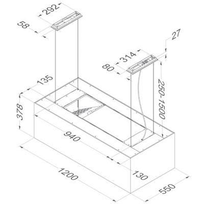 novy dunstabzugshaube zen 7510 inselhaube umluft warmwei interner motor 120 cm online shop. Black Bedroom Furniture Sets. Home Design Ideas